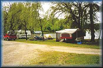 camp sites on the shore ~ camping at Lake Lenwood Beach & Campground West Bend Wisconsin camping RV park